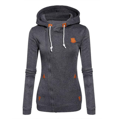 Women's Long Zip Up Sweatshirt Hoodie - Dark gray / S