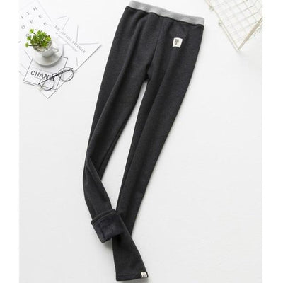 Cat Warm Fleece Leggings - Dark gray