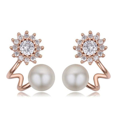 Fashionable Pearl Earrings - ED17 Rose Gold