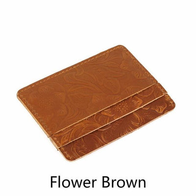Men's Leather Card Holders - Flower Brown