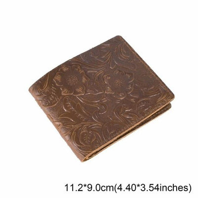 Vintage Leather Wallet - Flower Coffee