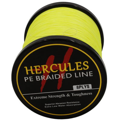 Colored Braided Fishing Line - Fluorescent Yellow