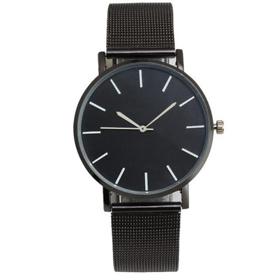 Mesh Strap Analog Quartz Watch - Full Black