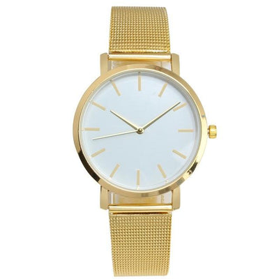 Mesh Strap Analog Quartz Watch - Gold