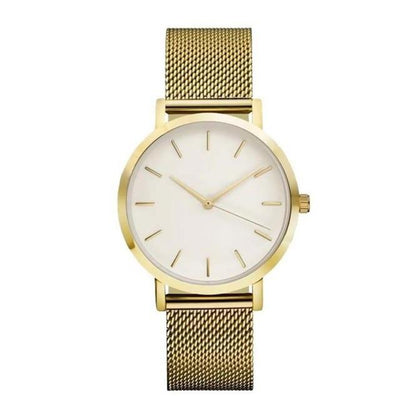 Women Crystal Stainless Steel Watch - Gold