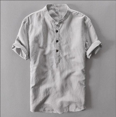 Banded Collar Shirt - Gray / M