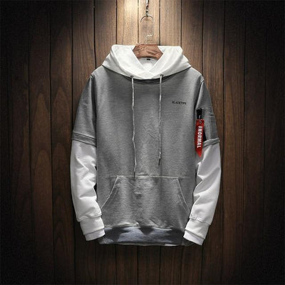 #Normal Patchwork Hoodie - Gray / M