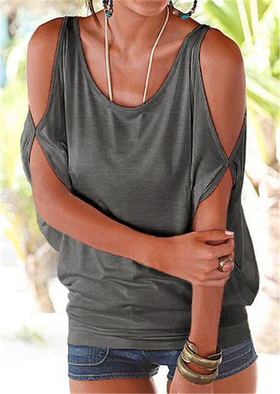 Casual Batwing Sleeve Blouse - Gray / S