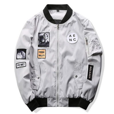 Patchwork Bomber Jacket - Gray / M