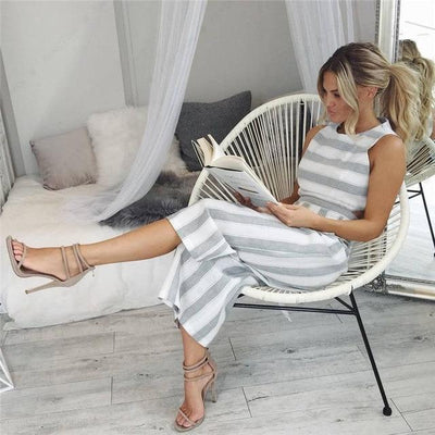 Casual Solid Striped Jumpsuit - Gray / S