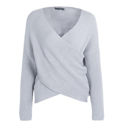 V-Neck Cross Knitted Wrap Sweater Top - Gray