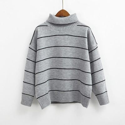 Turtleneck Striped Sweater - Gray / One Size