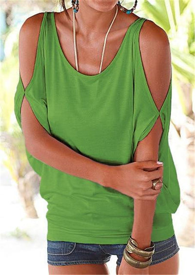 Casual Batwing Sleeve Blouse - Green / S