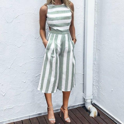 Casual Solid Striped Jumpsuit - Green / S