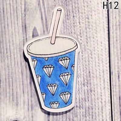 Food Pin Brooch - Diamond Cup