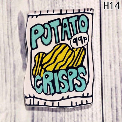 Food Pin Brooch - Potato Crisps
