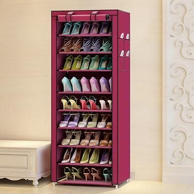 10 layers shoe storage - Wine Red