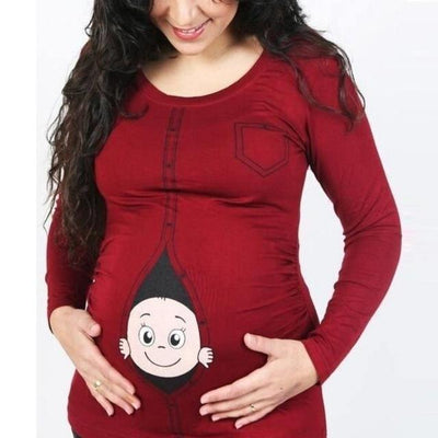 Maternity Funny Peeking Baby T-Shirt - Red / L