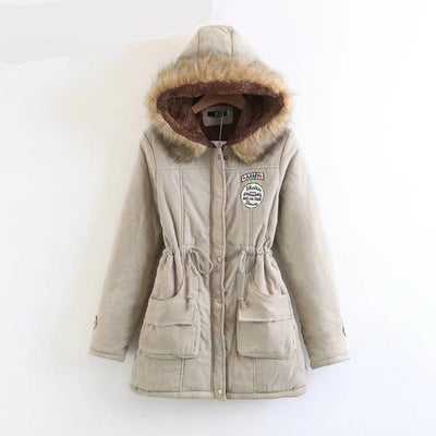 Plus Size Fur Winter Coat - Khaki / S