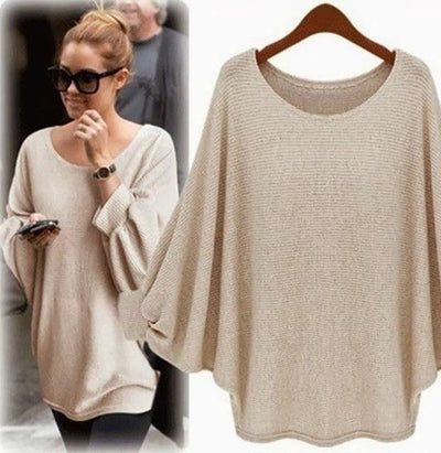 Oversized Knitted Blouse - Khaki / S