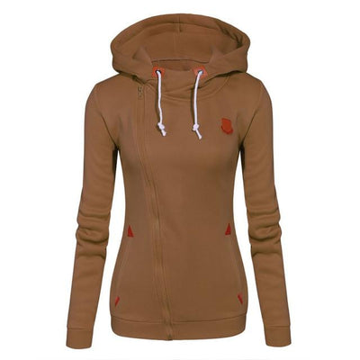 Women's Long Zip Up Sweatshirt Hoodie - Khaki / S