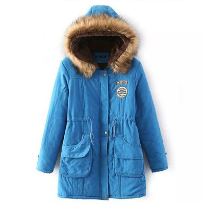 Plus Size Fur Winter Coat - Lake Blue / S