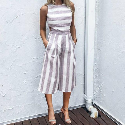 Casual Solid Striped Jumpsuit - Lavender / S