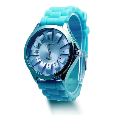Jelly Band Flower Dial Wrist Watches - Light Blue