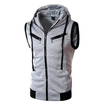 Sleeveless Training Hoodie - Light Gray / M