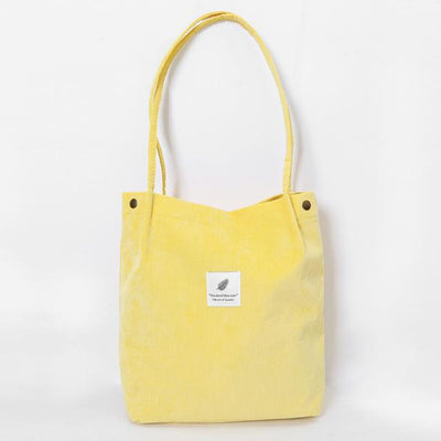 Reusable Corduroy Shopping Bag - Light Yellow