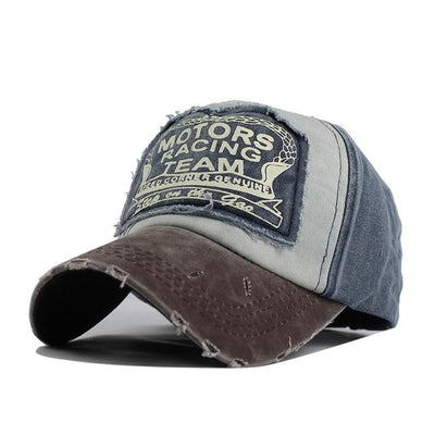 Motor Race Patchwork Cap - Coffee Navy