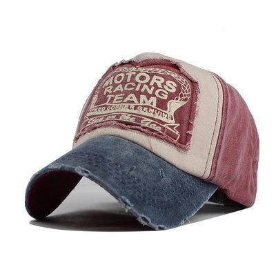 Motor Race Patchwork Cap - Navy red