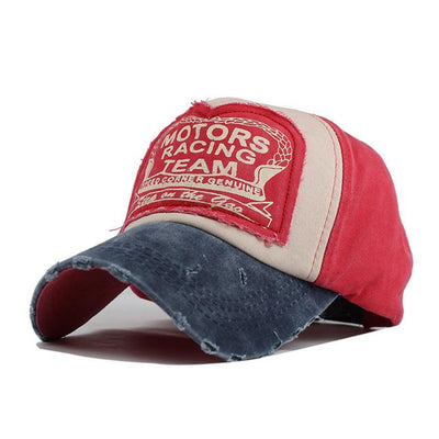 Motor Race Patchwork Cap - Red