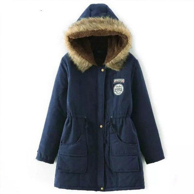 Plus Size Fur Winter Coat - Navy / S