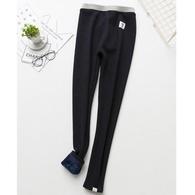 Cat Warm Fleece Leggings - Navy blue
