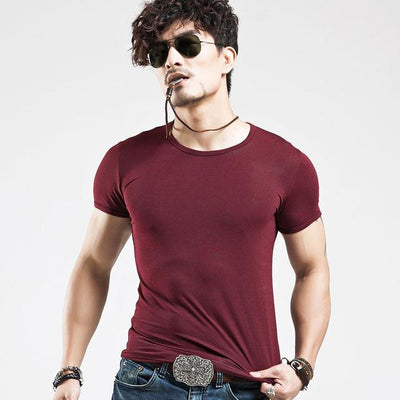 Fit Casual Men's T-Shirt - O Wine Red / S