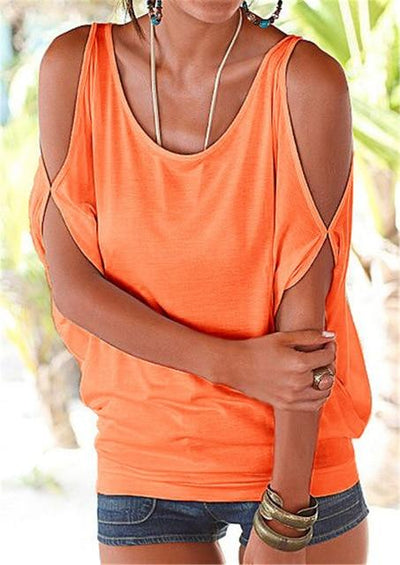 Casual Batwing Sleeve Blouse - Orange / S