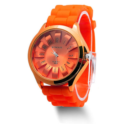 Jelly Band Flower Dial Wrist Watches - Orange
