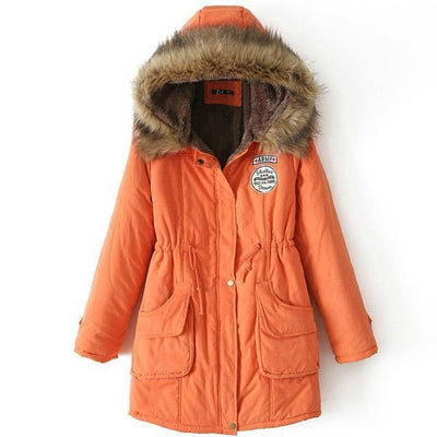 Plus Size Fur Winter Coat - Orange / S
