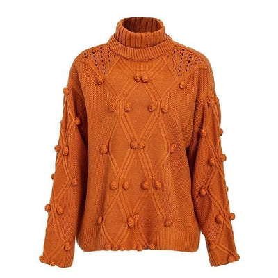 Oversize Knitted Turtleneck Sweater - Orange