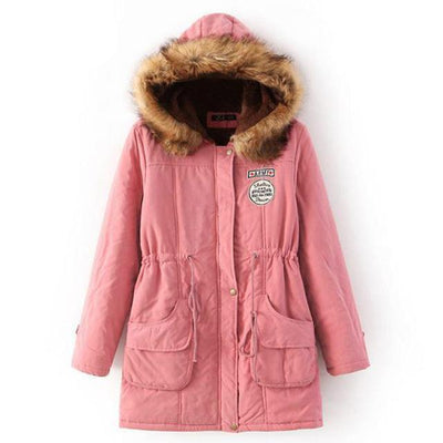 Plus Size Fur Winter Coat - Peach pink / S