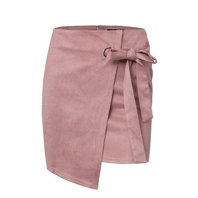 High-Waist Knotted Suede Skirt - Pink / S