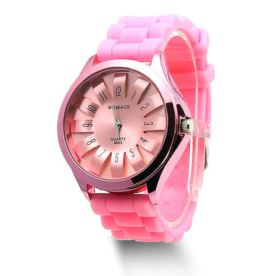 Jelly Band Flower Dial Wrist Watches - Pink