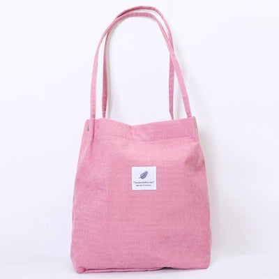 Reusable Corduroy Shopping Bag - Pink