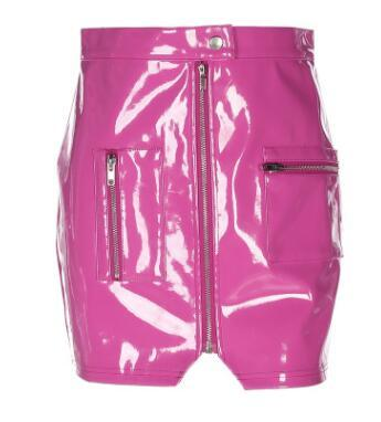 Faux Leather Mini Skirt - Pink / S