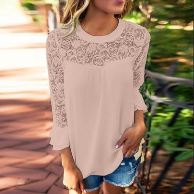 Casual Autumn Lace Blouse - Pink / S