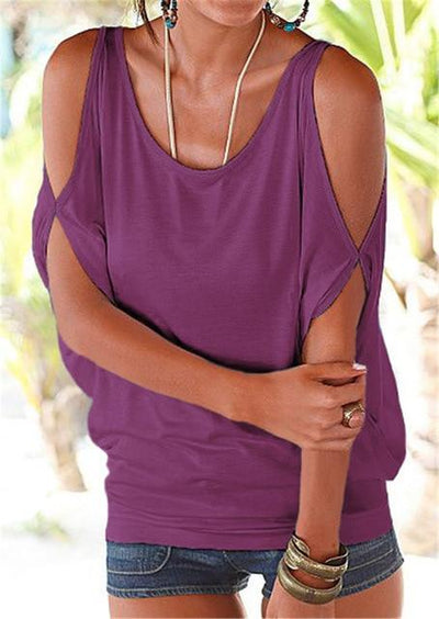 Casual Batwing Sleeve Blouse - Purple / S
