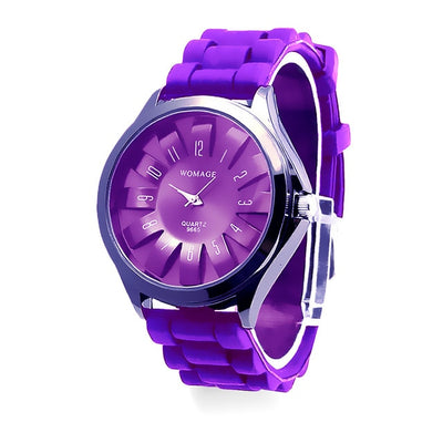 Jelly Band Flower Dial Wrist Watches - Purple