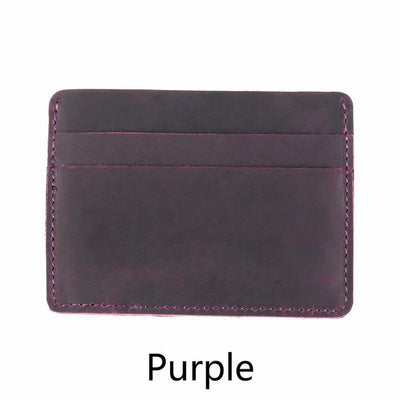 Men's Leather Card Holders - Purple