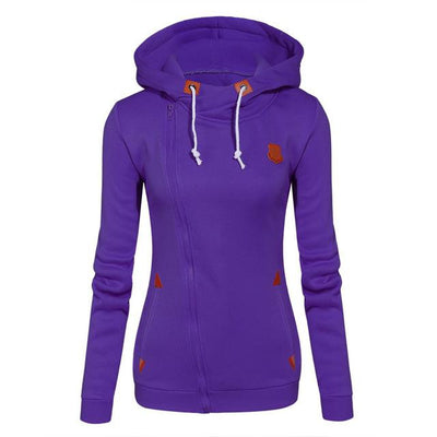 Women's Long Zip Up Sweatshirt Hoodie - Purple / S